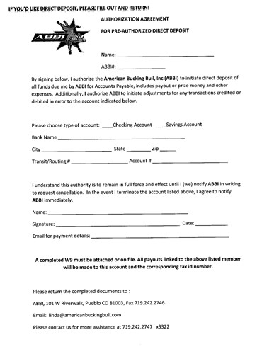 American Bucking Bull Inc  Direct Deposit Form